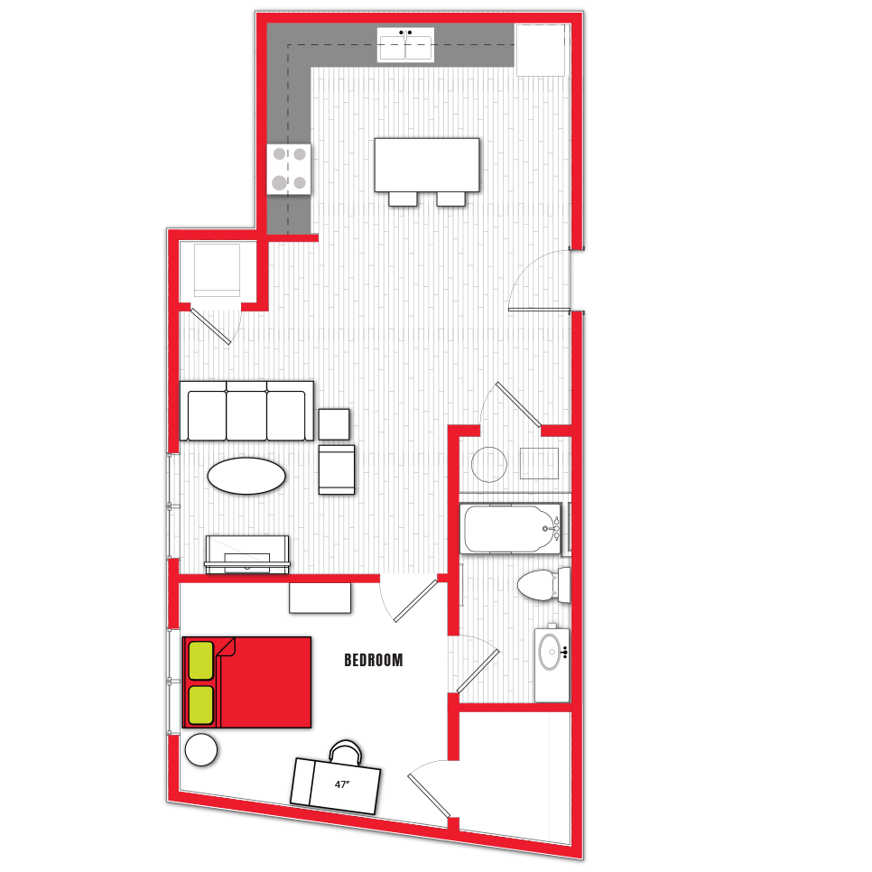 Stanhope Apartments floor plan 1a