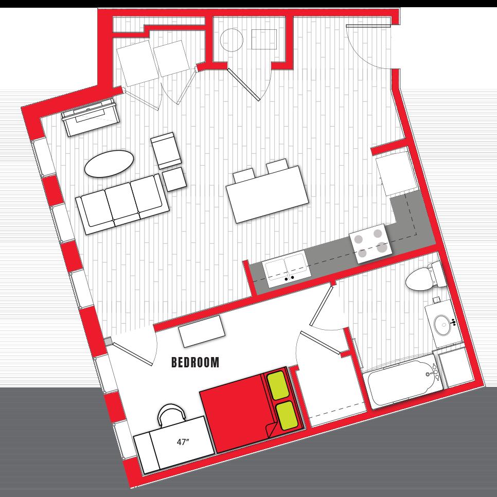 Stanhope Apartments floor plan 1c