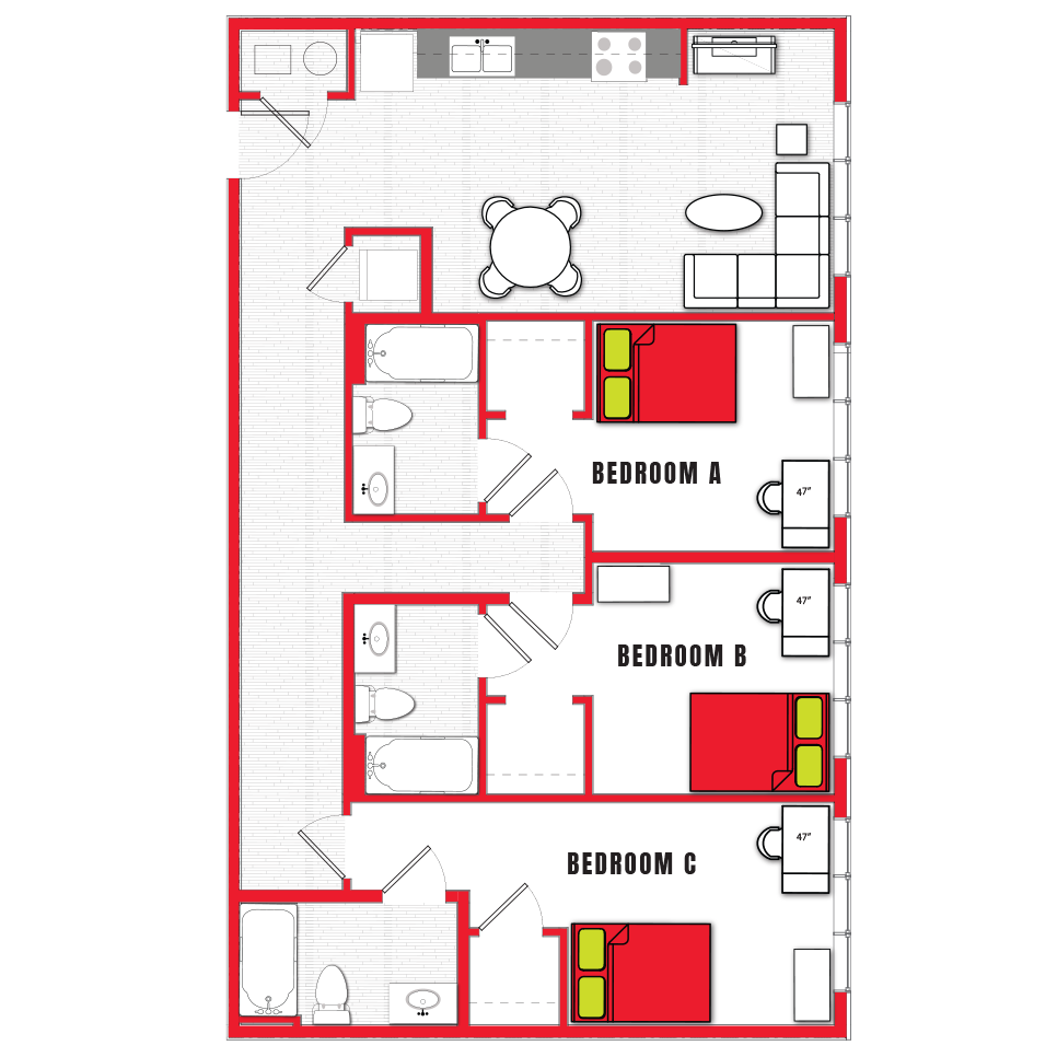Stanhope Apartments floor plan 3b