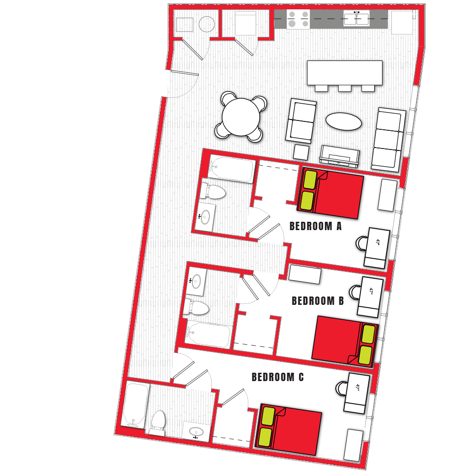 Stanhope Apartments floor plan 3d