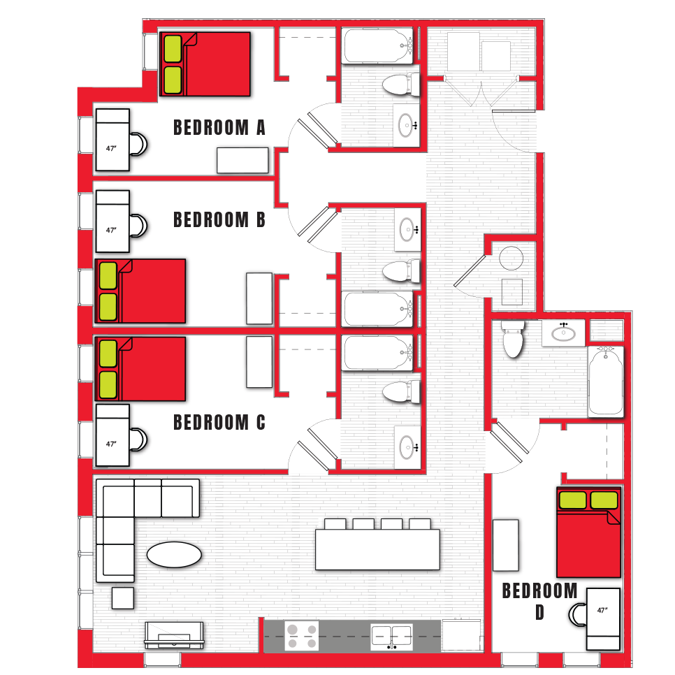 Stanhope Apartments floor plan 4b